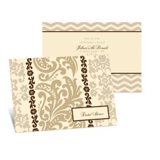 Patterned Damask Bridal Shower Invitation - Champagne
