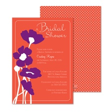 Pretty Poppies Bridal Shower Invitation - Tango