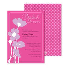 Pretty Poppies Bridal Shower Invitation - Fuchsia