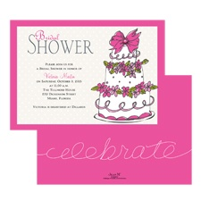 Take the Cake Bridal Shower Invitation - Fuchsia