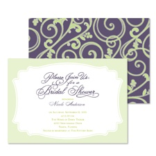 Retro Flourishes Bridal Shower Invitation - Raisin