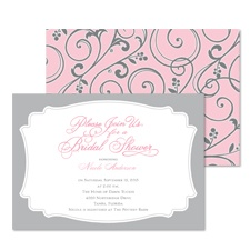 Retro Flourishes Bridal Shower Invitation - Salmon