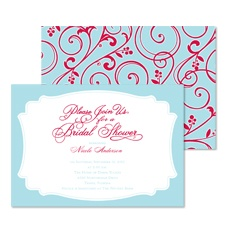 Retro Flourishes Bridal Shower Invitation - Sea