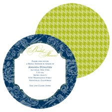 Floral Houndstooth Bridal Shower Invitation - Midnight