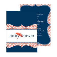 Umbrella Banner Baby Shower Invitation - Midnight
