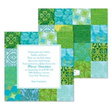 Patchwork Patterns Baby Shower Invitation - Palm