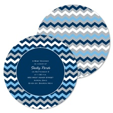 Cute Chevron Baby Shower Invitation - Midnight