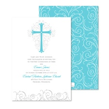Modern Cross First Communion Invitation - Palm