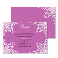 Bits of Lace Baptism Invitation - Amethyst