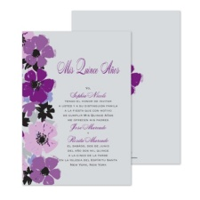 Purple Flowers Quinceanera Invitation