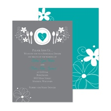 Romantic Dinner Rehearsal Dinner Invitation - Peacock