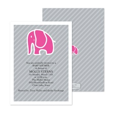 Baby Elephant Baby Shower Invitation - Fuchsia