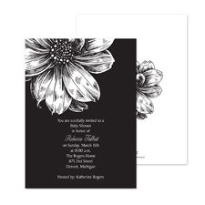 Zinnia Silhouette Baby Shower Invitation