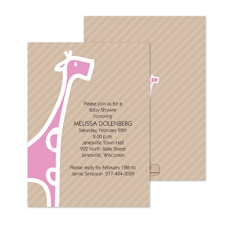 Baby Giraffe Baby Shower Invitation - Bubble Gum