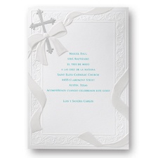 Silver Cross Baptism Invitation