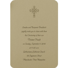 Glistening Cross Baptism Invitation - Gold