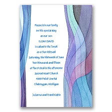 Watercolor Tallit Bar and Bat Mitzvah Invitation