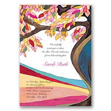 Tree of Life Bar and Bat Mitzvah Invitation - Pink