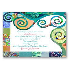 Mystical Symbols Bar and Bat Mitzvah Invitation - Blue