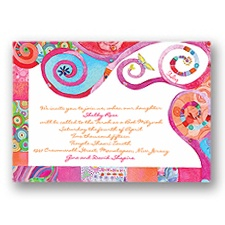 Mystical Symbols Bar and Bat Mitzvah Invitation - Pink