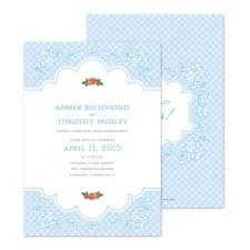 Vintage Gingham Engagement Party Invitation
