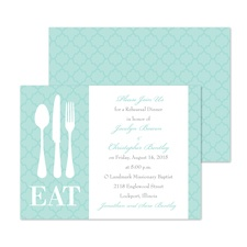 Time to Eat Rehearsal Dinner Invitation - Aqua