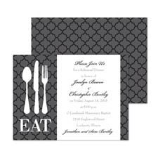 Time to Eat Rehearsal Dinner Invitation - Black