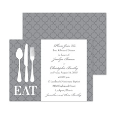 Time to Eat Rehearsal Dinner Invitation - Pewter