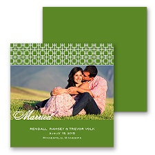 Modern Mosaic Photo Marriage Announcement - Cloverleaf