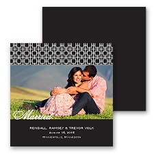 Modern Mosaic Photo Marriage Announcement - Black