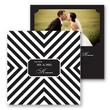 Stylish Chevron Photo Marriage Announcement - Black