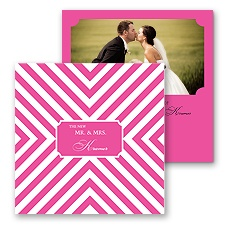 Stylish Chevron Photo Marriage Announcement - Fuchsia
