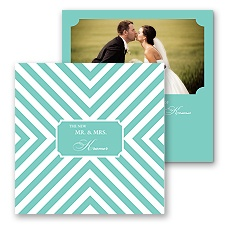 Stylish Chevron Photo Marriage Announcement - Lagoon