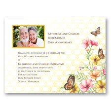 Sweet Butterflies Photo Anniversary Invitation
