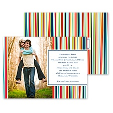 Mod Stripes Photo Engagement Party Invitation
