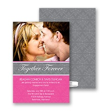 Forever Damask Photo Engagement Party Invitation