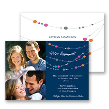 Beaded Garland Photo Engagement Party Invitation