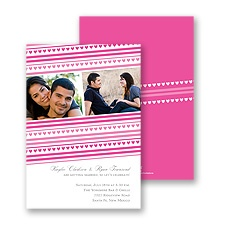 Tiny Hearts Photo Engagement Party Invitation - Fuchsia