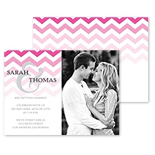 Faded Chevron Photo Engagement Party Invitation - Fuchsia