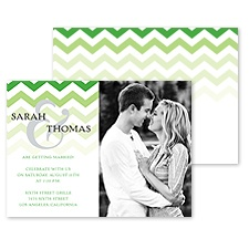 Faded Chevron Photo Engagement Party Invitation - Grass