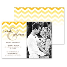 Faded Chevron Photo Engagement Party Invitation - Marigold