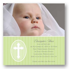 Precious Cross Photo Baptism Invitation