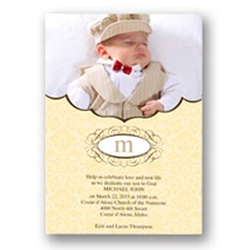 Sweet Damask Photo Baptism Invitation