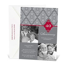 Bold Damask Photo Anniversary Invitation - Merlot
