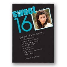 She Sparkles Sweet 16 Photo Invitation