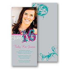 Fanciful Flourishes Sweet 16 Photo Invitation