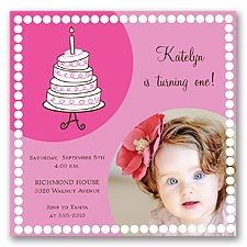 Cute Cake Birthday Photo Invitation