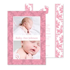 Barefoot Damask Photo Baby Announcement - Salmon