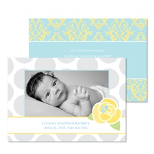 Rosebud Damask Photo Baby Announcement