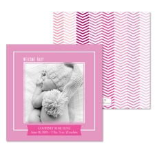 Little Chevron Photo Baby Announcement - Bubble Gum
